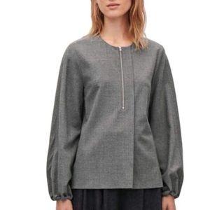 COS Wool Grey Blend Zip Blouse
